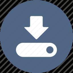 arrow, computer, download, save, saving icon
