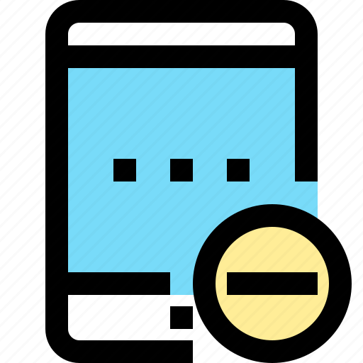 app, contact, minus, mobile, smartphone, tablet icon