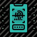 fingerprint, mobile, phone, scanner, smartphone icon