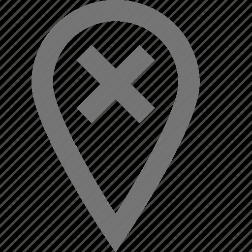 cancel, location, marker, material, navigation, off, remove icon
