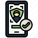 check, detection, face, mark, multimedia, security, smartphone icon