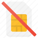 card, communication, error, no, sim icon