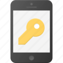 key, lock, mobile, phone, smart, smartphone icon