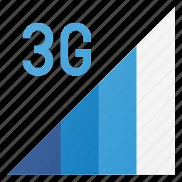 communication, phone, signal, strength, three g icon