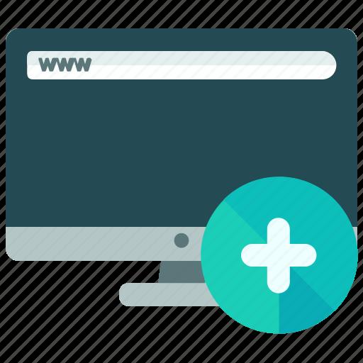 add, browsing, mobile, new, plus, screen, web icon