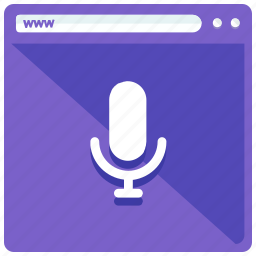 browsing, microphone, mobile, record, voice, web, webpage icon