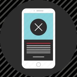 delete, mobile, phone, stop icon