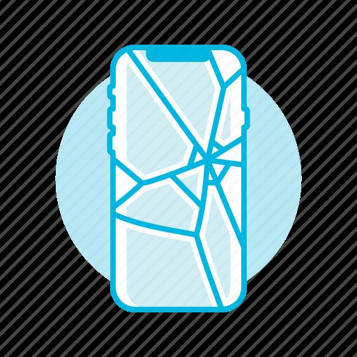 broken, glass, iphone x, iphonex, phone, screen icon