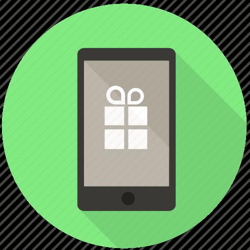 bonus, gift, mobile, phone, present, prize, sms icon