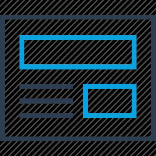 blog, interface, mockup, web, wireframe icon