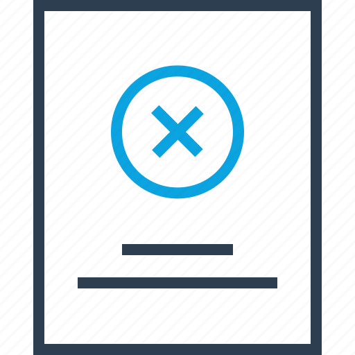 attention, close, denied, description, page, stop icon