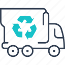 bio, eco, mode, of, product, transport, truck icon