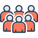 association, cluster, conglomeration, crowd, group, organization, troop