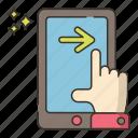swipe, right, mobile