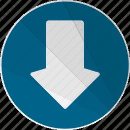 arrow, bottom, down, down arrow, modern, modern social free icon