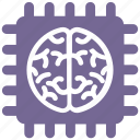 brain, chip, computer, cpu, microchip, processor, technology icon