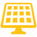 energy, green, panel, power, renewable, solar, technology icon icon
