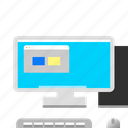 computer, desktop, full, keyboard, monitor icon