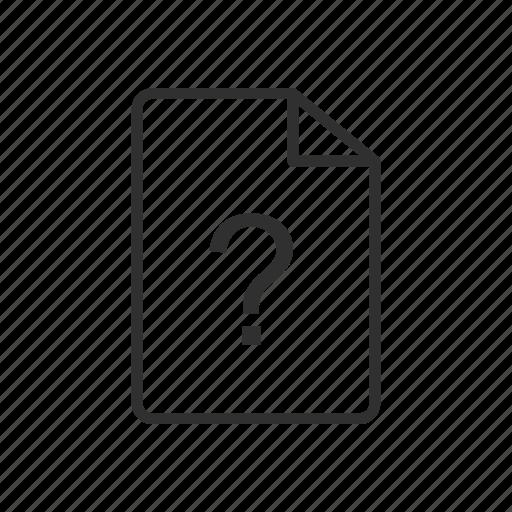 error, file, not found, question mark, unidentified, unknown, unknown file icon