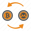 bitcoin, coin, crypto, cryptocurrency, monero, transfer icon