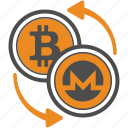 bitcoin, coin, crypto, cryptocurrency, monero, trasnfer icon