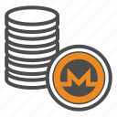 coin, coins, crypto, cryptocurrency, monero icon
