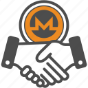 contract, crypto, cryptocurrency, deal, hand, monero icon