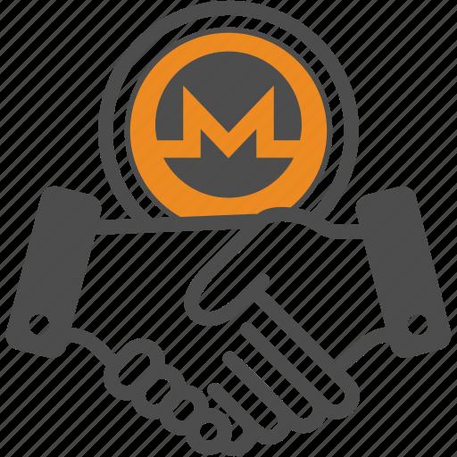 contract, crypto, cryptocurrency, deal, hand, monero icon