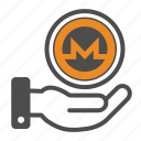 coin, coins, crypto, cryptocurrency, hand, monero icon