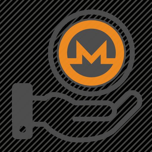 coin, coins, crypto, cryptocurrency, hand, monero icon