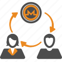 coin, crypto, cryptocurrency, monero, money, transfer icon