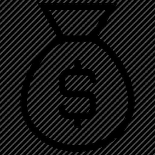 bag, bank, banking, currency, dollar, fess, finance, loan, money, money bag, savings icon