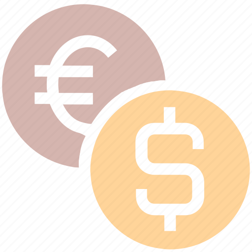 bank, coin, coins, dollar, euro, finance, money, sign icon