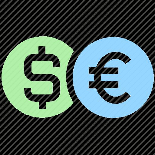 bank, coin, coins, dollar, euro, finance, money, sign icon