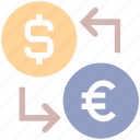 coin, currency, dollar, dollar and euro, euro, money, money convert, money exchange icon