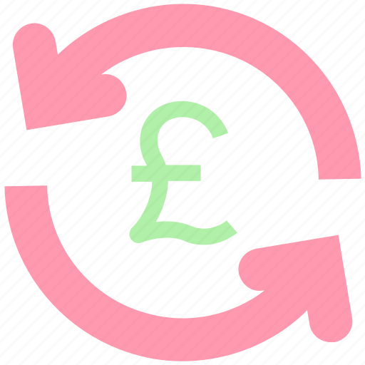 assets, cash, coin, finance, financial, payment, pound, pound sign, refresh, reload, sync, turnover icon