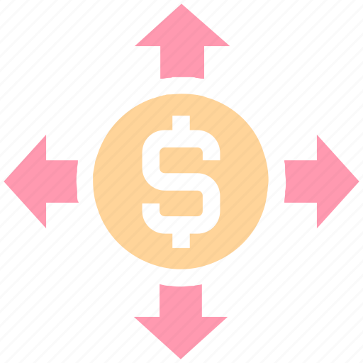 affiliate, arrows, banking, business, currency, dollar, expand, financial, marketing icon