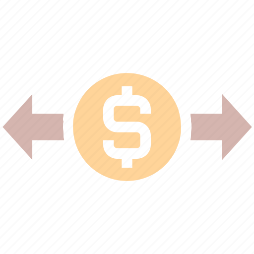 arrows, currency, dollar, exchange rate, finance, money, right and left, stock market icon