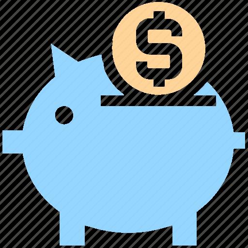 coin, finance, money, money saving, pig, piggy, piggy bank, saving icon