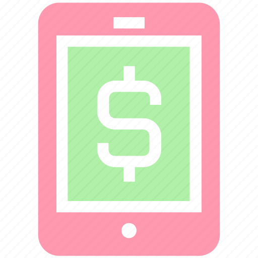 banking app, cell phone, dollar, mobile, mobile banking, money, sign, smartphone icon
