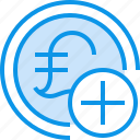 add, banking, coin, currency, fund, moeny icon