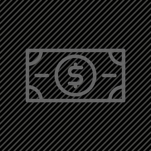 cash, dollar, finance, line, money, note, rich icon
