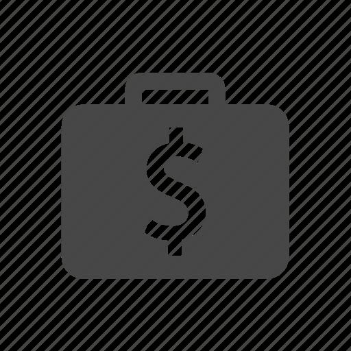 dollar, money, suitcase icon