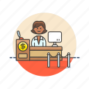 bank, counter, currency, dollar, finance, money, service, woman icon