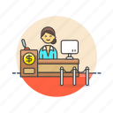 bank, cash, counter, currency, finance, money, service, woman icon