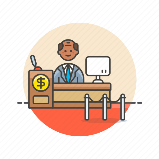 bank, cash, counter, currency, finance, man, money, service icon