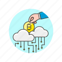 bitcoin, cloud, currency, money, online, storage, virtual icon