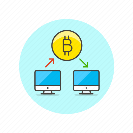 bitcoin, computer, connect, exchange, money, online, transfer icon