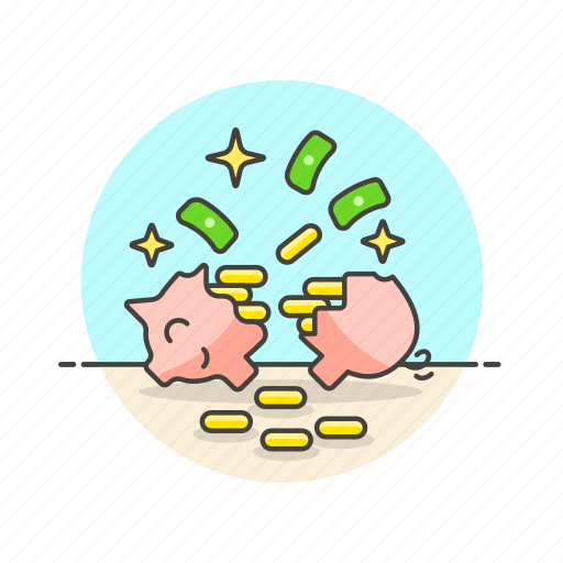 bank, cash, cracked, currency, finance, money, open, piggy icon