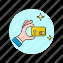 card, credit, debit, gold, hand, limit, money, platinum icon
